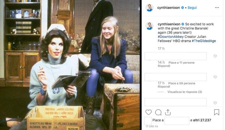 Cynthia Nixon è nel cast di The Gilded Age insieme a Christine Baranski, foto condivisa sul profilo IG ufficiale cynthiaenixon
