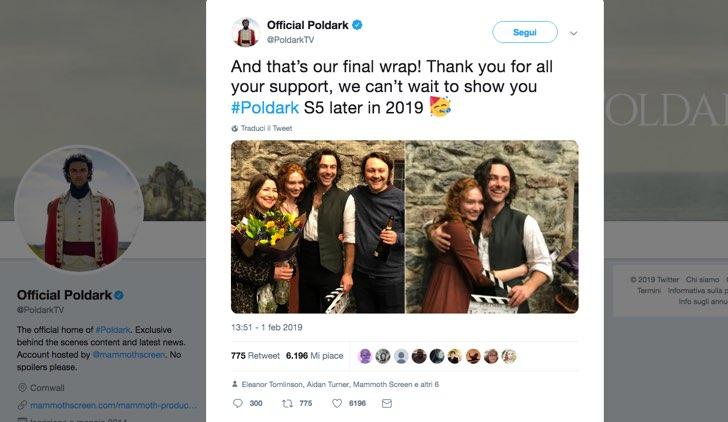Poldark 5 esce nel 2019 Tweet postato sull'account ufficiale di Twitter della serie, PoldarkTV