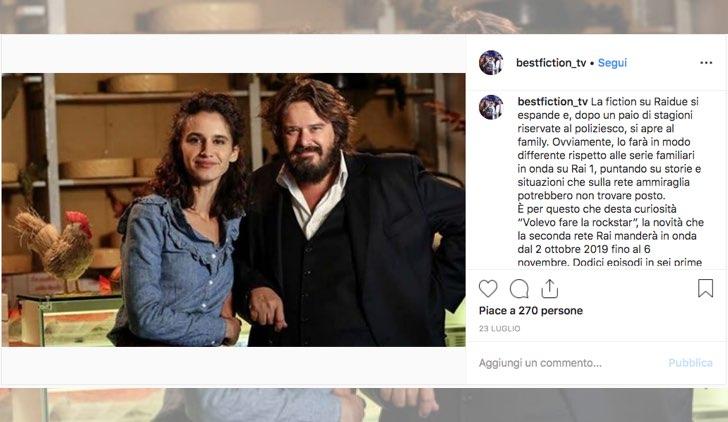 Volevo fare la rockstar fiction Rai 2 con Valentina Bellè foto pubblicata su Instagram sull account bestfiction_tv