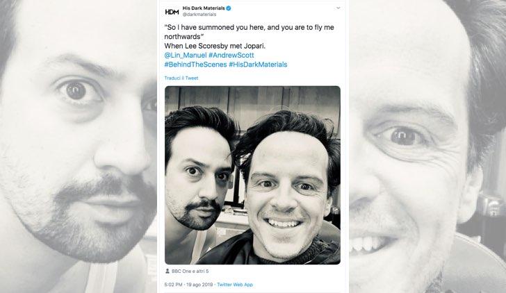 Queste Oscure Materie 2 Andrew Scott e Lin Manuel Miranda nel cast, foto pubblicata sull'account Twitter ufficiale DarkMaterials