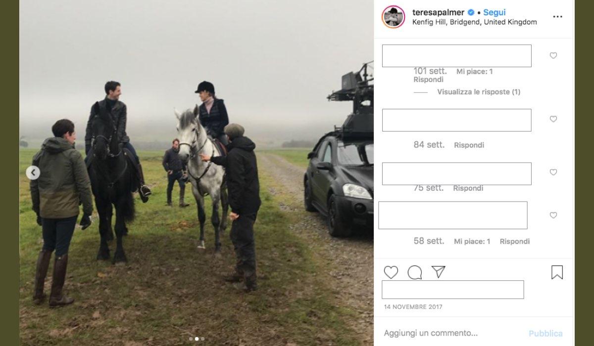 Teresa Palmer e Matthew Goode sono i due attori principali nel cast di A Discovery of Witches, qui in una foto pubblicata dalla attrice sul suo profilo Instagram verificato il 14 novembre 2017