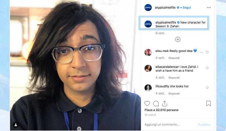 Atypical 3 Zahair non è un nuovo personaggio foto pubblicata sull'account Instagram ufficiale della serie