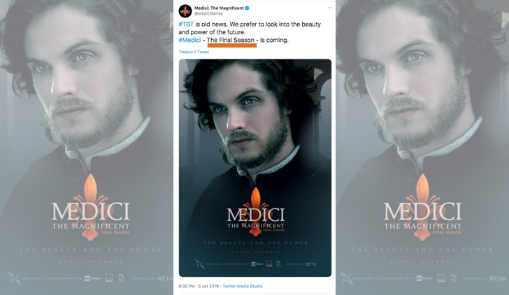 Medici The Magnificent Final Season su Rai Uno foto pubblicata sull'account Twitter ufficiale MediciSeries