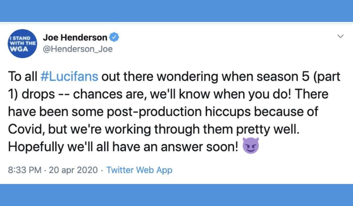 Lucifer 5 quando esce la parte 1, il Tweet di Joe Henderson sul suo profilo Twitter ufficiale