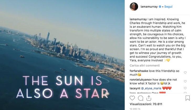 Ashleigh Murray Instagram film commento il sole è anche una stella