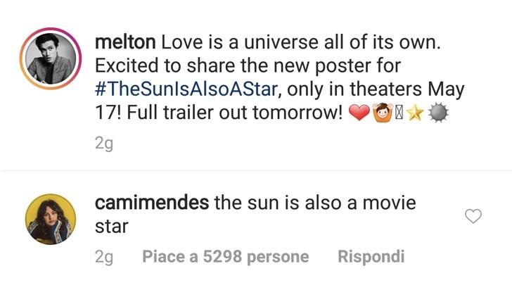 Il sole è anche una stella Camila Mendes Instagram commento