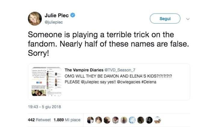 Julie Plec smentisce figli Delena Twitter