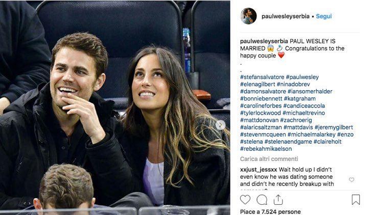 Paul Wesley sposato con Ines de Ramon foto pubblicata su Instagram da paulwesleyserbia