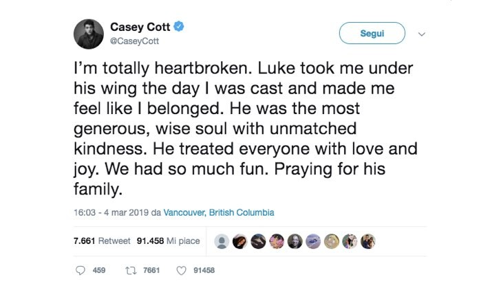 Casey Cott Twitter Luke Perry