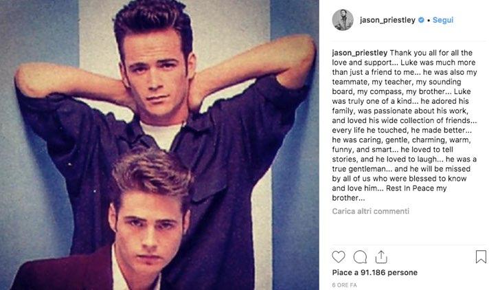 Jason Priestley Luke Perry instagram