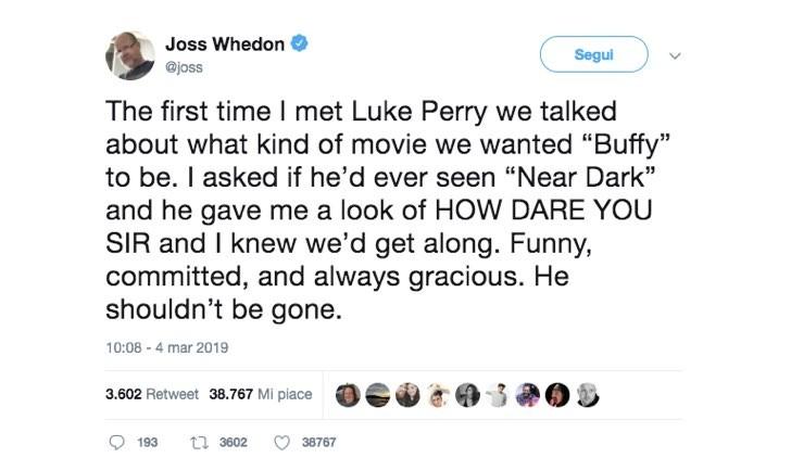 Joss Whedon Twitter Luke Perry