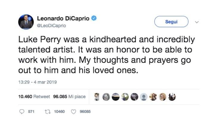 Leonardo DiCaprio Twitter Luke Perry