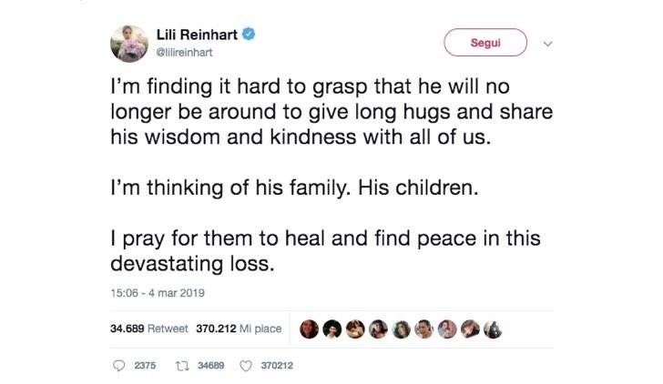 Lili Reinhart Twitter Luke Perry