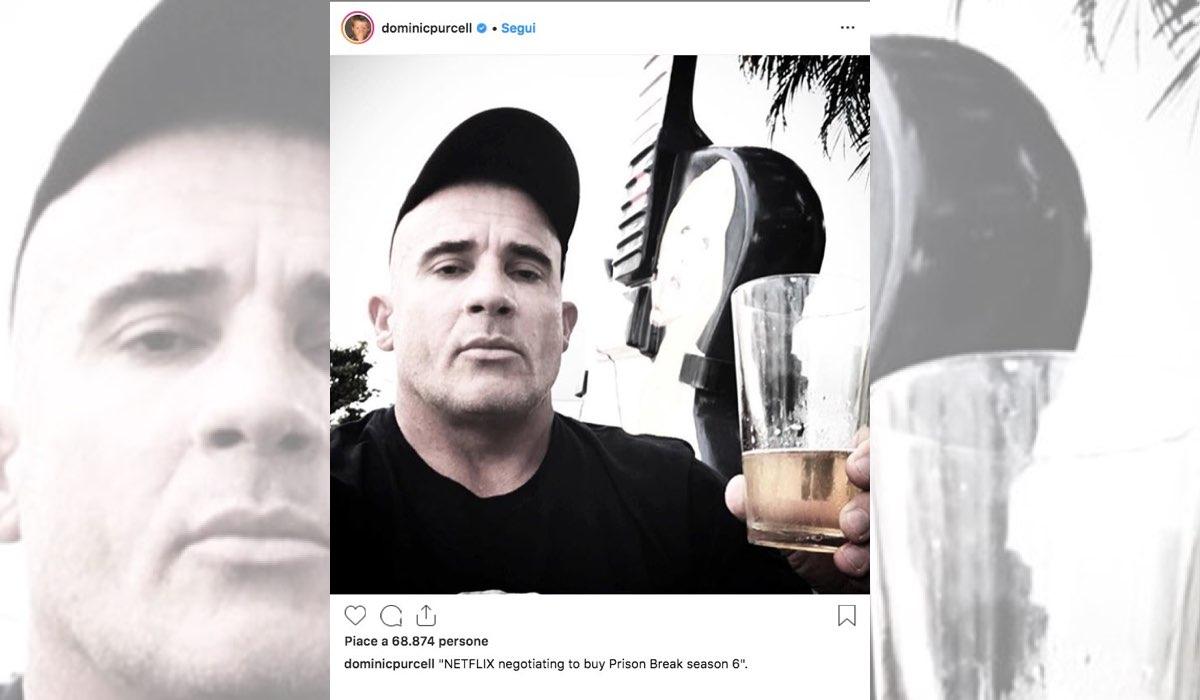 Prison Break 6 su Netflix foto pubblicata da Dominic Purcell su Instagram