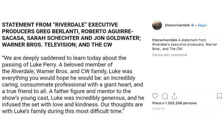 Riverdale messaggio Luke Perry Instagram