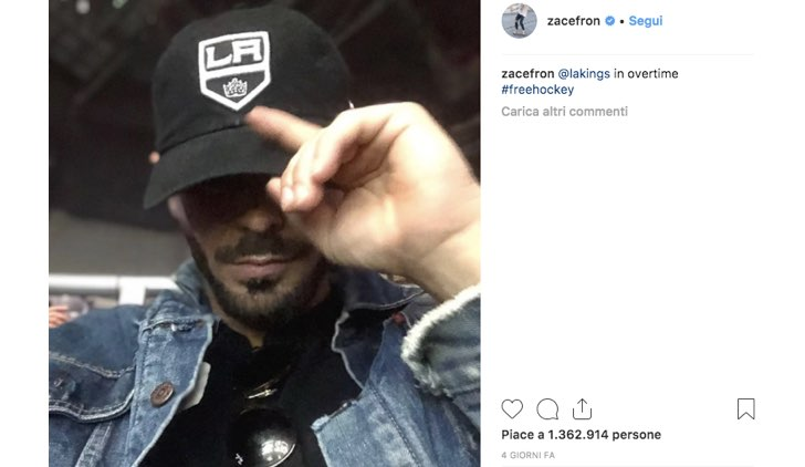 Zac Efron Instagram Hockey