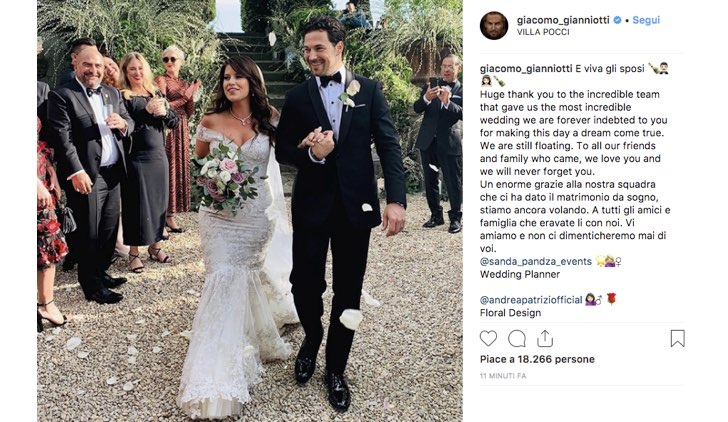 Giacomo Gianniotti Instagram matrimonio