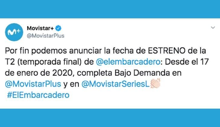 Il molo rosso 2 esce a gennaio 2020 su Movistar+, uscita annunciata con un Tweet ufficiale sull account verificato Credits Movistar+