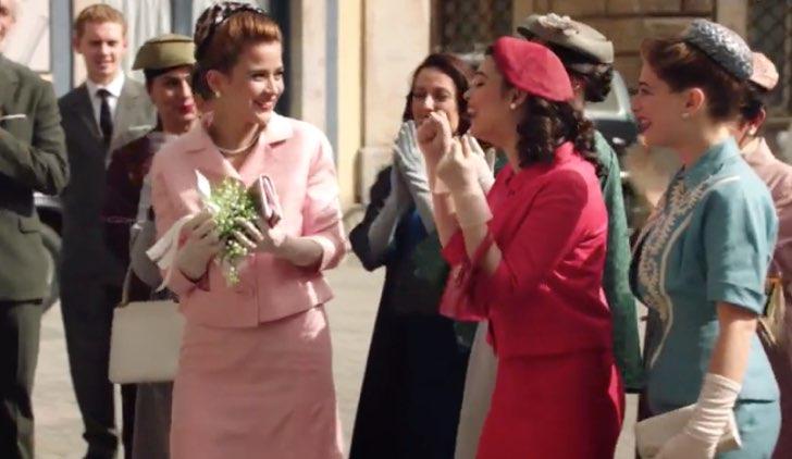 Il paradiso delle signore Gabriella prende il bouquet al matrimonio di Elena e Antonio Credits RAI