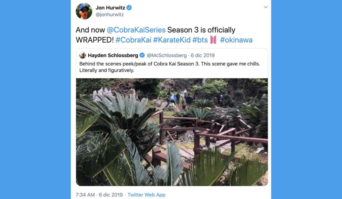 Jon Hurwitz, uno dei creatori della serie annuncia su Twitter la fine delle riprese di Cobra Kai 3 stagione