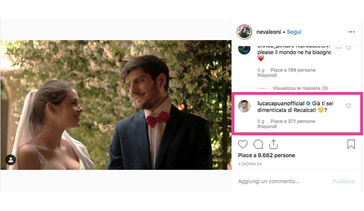Neva Leoni e Claudio Colica foto pubblicata sull'account Instagram ufficiale di Neva Leoni commentata da Luca Capuano