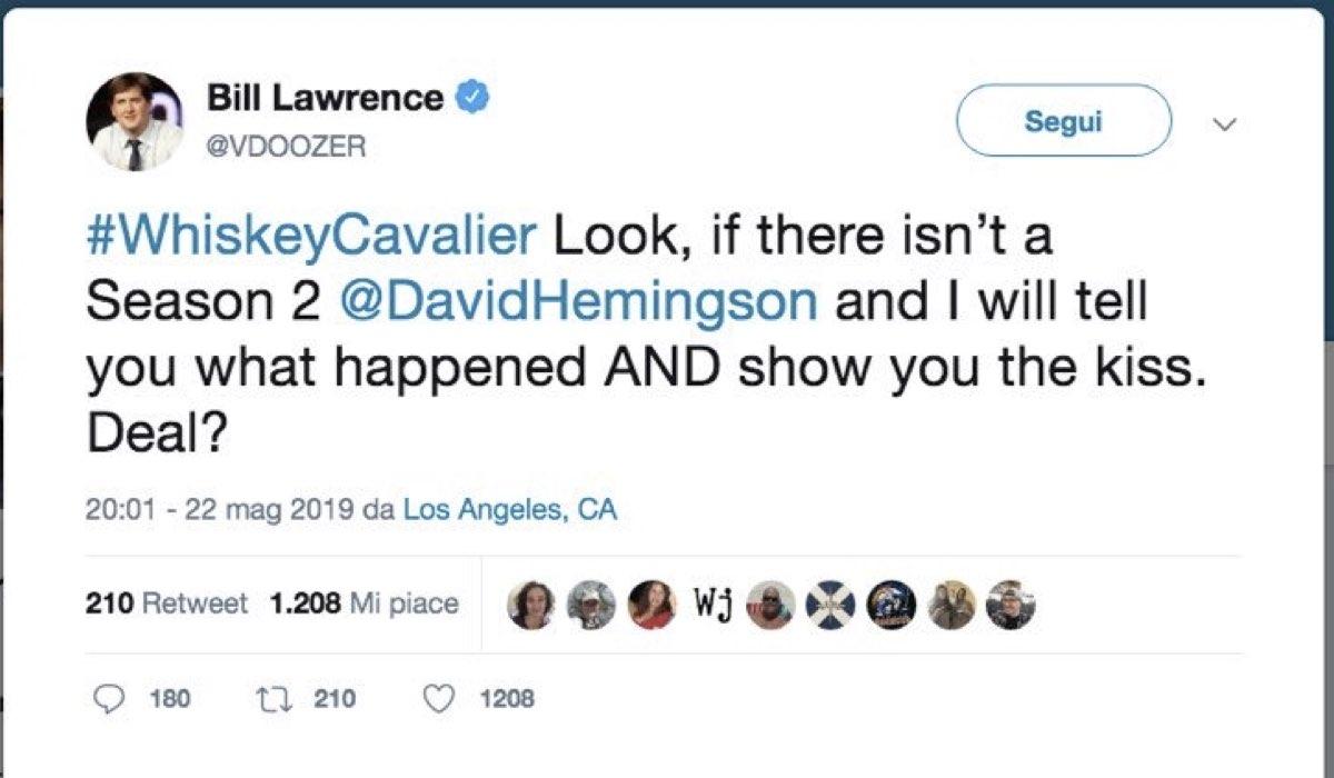 Whiskey Cavalier serie tv tweet del produttore esecutivo Bill Lawrence sul profilo Twitter ufficiale