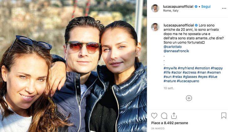 Luca Capuano attore ne Il paradiso delle signore e Un posto al sole, foto con sua moglie e Anna Safroncick pubblicata sul suo account Instagram ufficiale