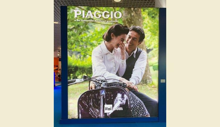 Enrico Piaggio Un Sogno Italiano poster della fiction con Enrica Pintore e Alessio Boni al MIPCOM 2019 a Cannes Credits RAI e Moviheart