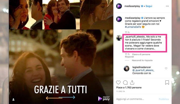 Lontano da te in streaming Mediaset Play foto pubblicata sull'account Instagram ufficiale di Mediaset Play
