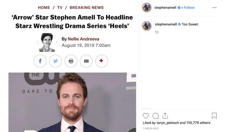 Heels Stephen Amell credits Instagram