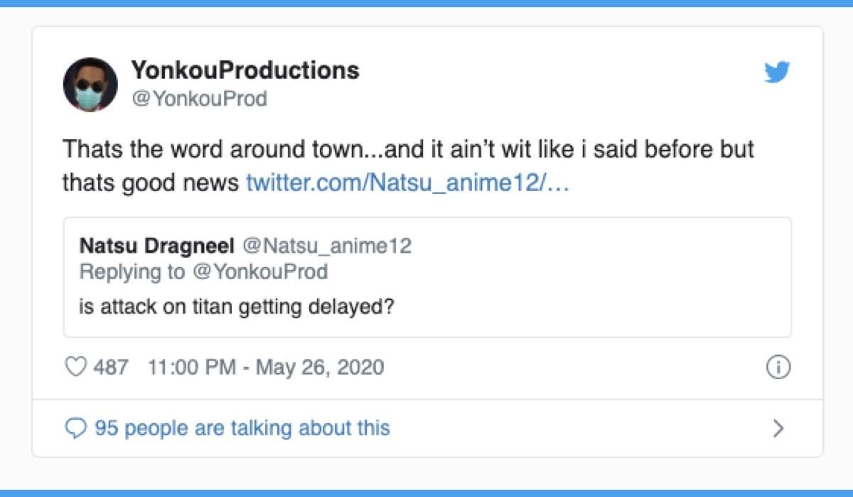 L'attacco dei giganti 4 uscita rimandata, tweet sul profilo Twitter Yonkou Productions