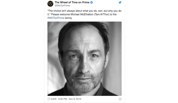 Michael McElhatton entra nel cast di The Wheel of Time serie tv, Post dal profilo Twitter ufficiale di WoTonPrime