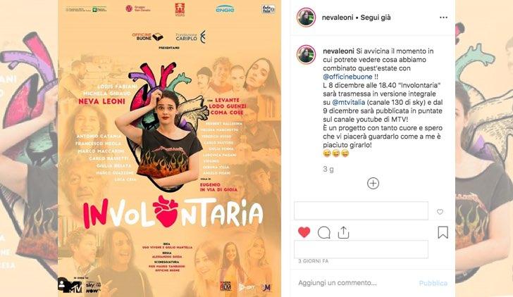 Data di uscita e locandina di Involontaria, post su Instagram sul profilo di Neva Leoni