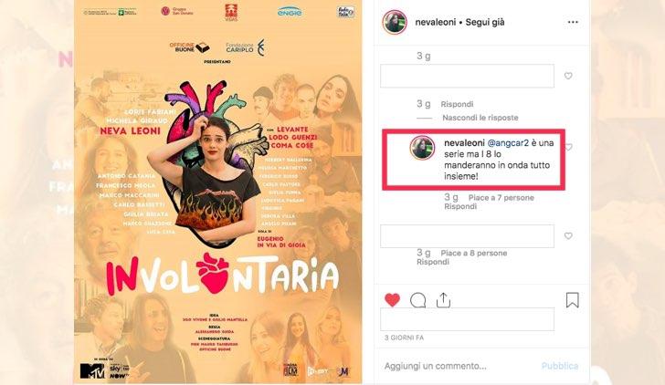 Involontaria locandina pubblicata da Neva Leoni sul suo account Instagram con commento sulla messa in onda Credits MTV