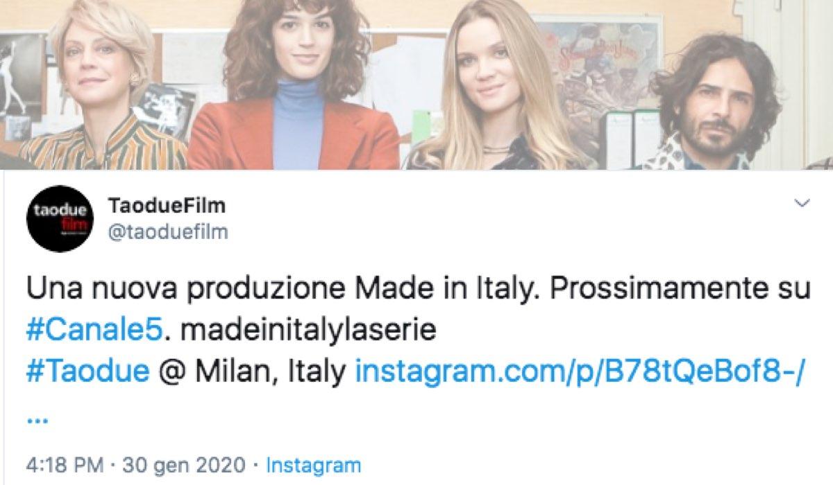 Made In Italy su Canale 5 prossimamente Tweet pubblicato sull'account Twitter ufficiale Taodue Credits Taodue, Mediaset e Amazon Prime Video