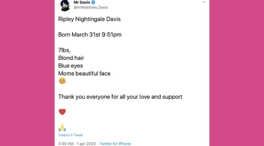 Matt Davis Twitter post diventato papà credits Twitter @ImMatthew_Davis