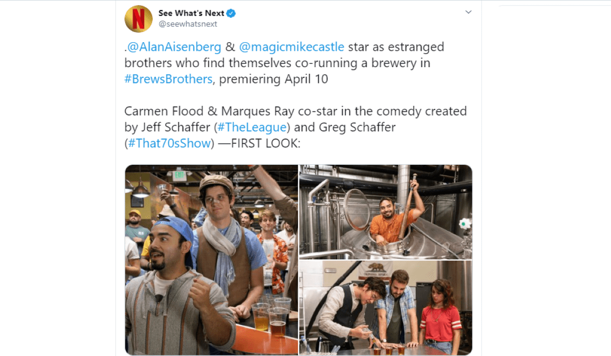 Tweet su Brews Brothers serie tv condiviso dall'account ufficiale di See What's Next