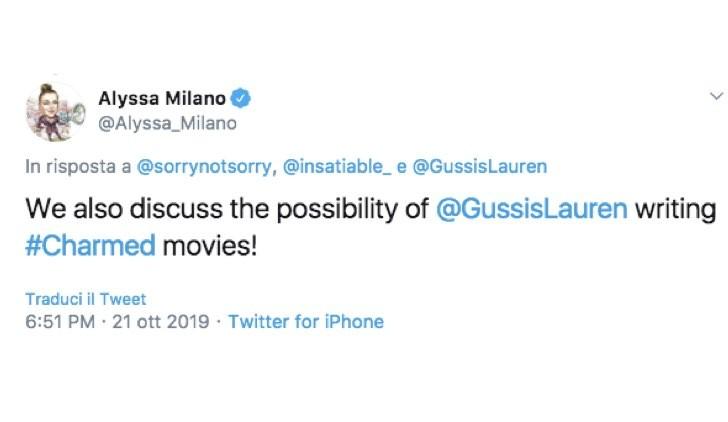 Alyssa MIlano Tweet Charmed Streghe film