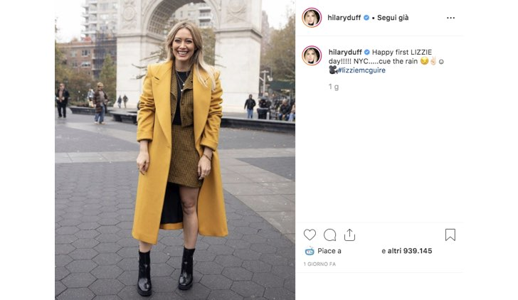 Hilary Duff Instagram riprese Lizzie McGuire