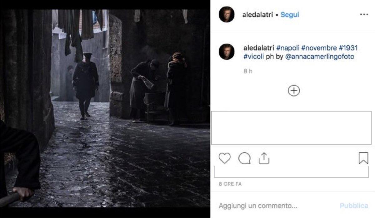 Il commissario Ricciardi foto di scena condivisa dal regista Alessandro D'Alatri sul suo profilo Instagram