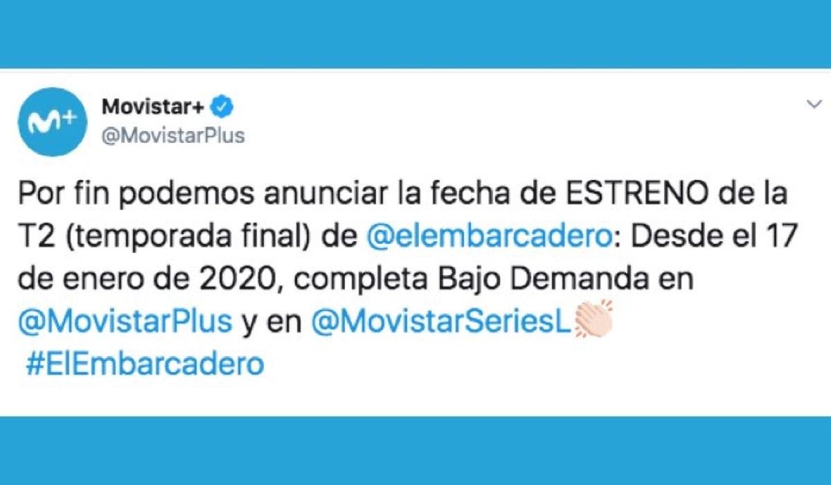Il molo rosso 2 esce a gennaio 2020 su Movistar+ e il 7 gennaio 2020 su Rai Due, uscita annunciata con un Tweet ufficiale sull account verificato Credits Movistar+