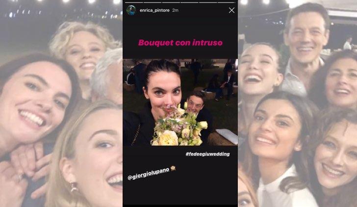 Il paradiso delle signore Federica De Benedittis e Giulio Maria Corso si sono sposati, Enrica Pintore prende il bouquet e scherza con Giorgio Lupano dalle IG Stories dell'attrice