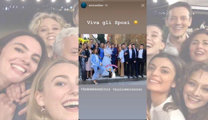 Il paradiso delle signore Federica De Benedittis e Giulio Maria Corso si sono sposati con il cast presente, foto pubblicata da Enrico Oetiker sul suo profilo IG in una Stories