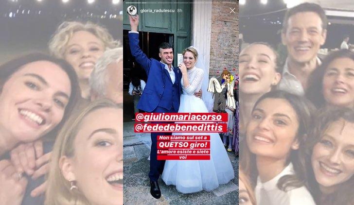 Il paradiso delle signore Federica De Benedittis e Giulio Maria Corso si sono sposati davvero foto pubblicata da Gloria Radulescu in una IG Stories
