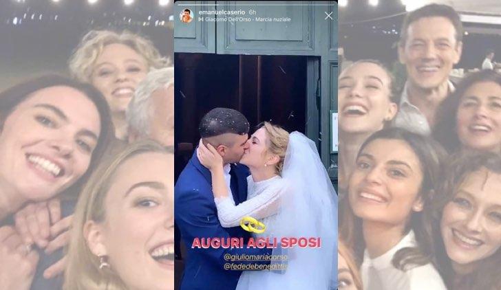 Il paradiso delle signore Federica De Benedittis e Giulio Maria Corso si sono sposati foto pubblicata da Emanuel Caserio in una Instagram Stories
