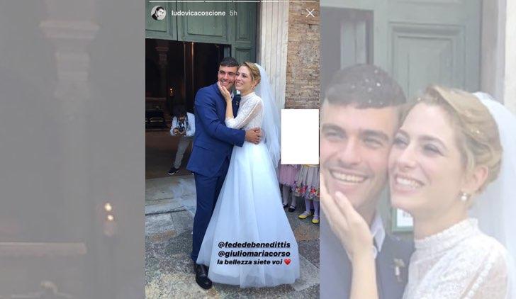 Il paradiso delle signore Federica De Benedittis e Giulio Maria Corso si sono sposati foto pubblicata da Ludovica Coscione sul suo profilo Instagram