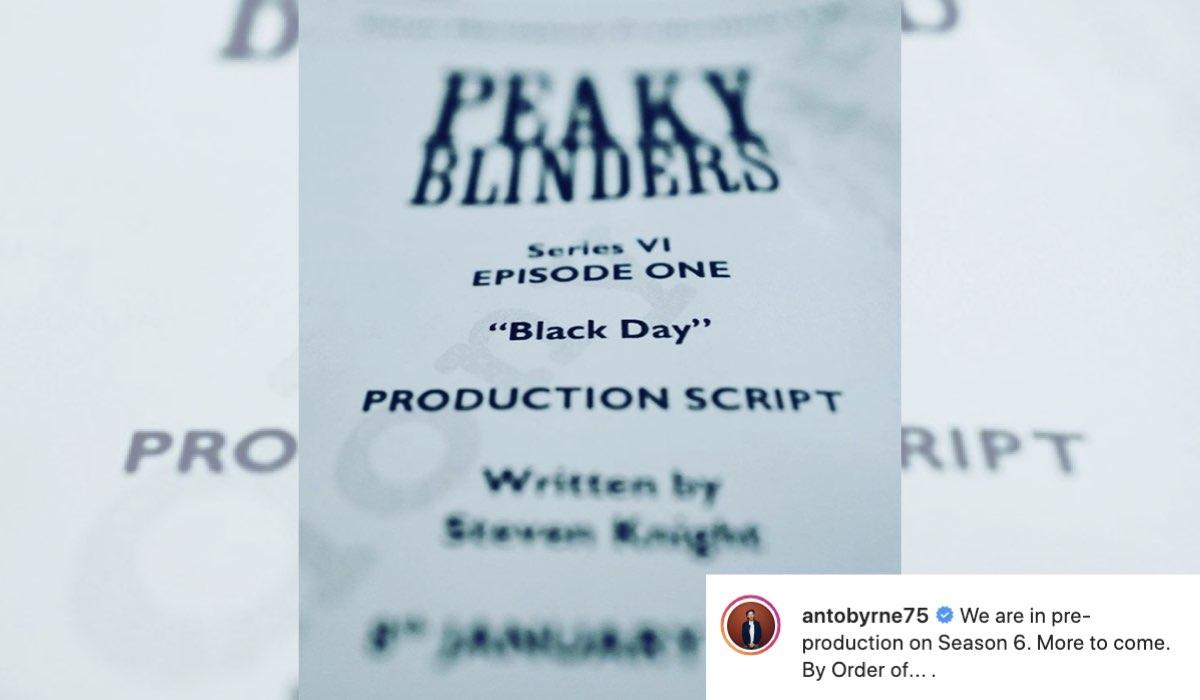La sceneggiatura del primo episodio di Peaky Blinders 6. Credits antobryne75 Instagram