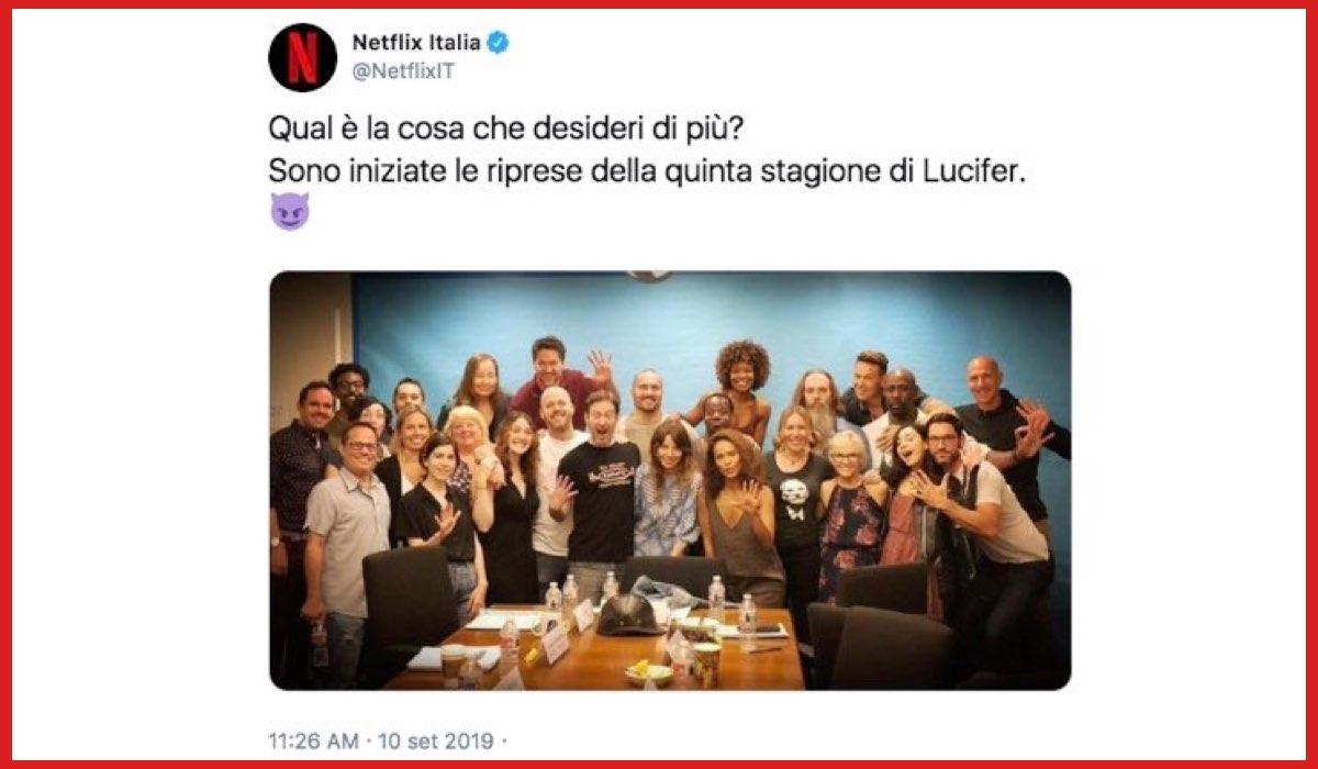 Lucifer 5 stagione annuncio riprese il 10 settembre 2019 sul profilo Twitter di Netflix Italia Credits Netflix