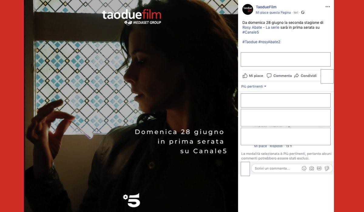 Rosy Abate 2 su Canale 5 in replica da domenica 28 giugno 2020, post pubblicato sul profilo Facebook ufficiale Taodue il 22 giugno 2020
