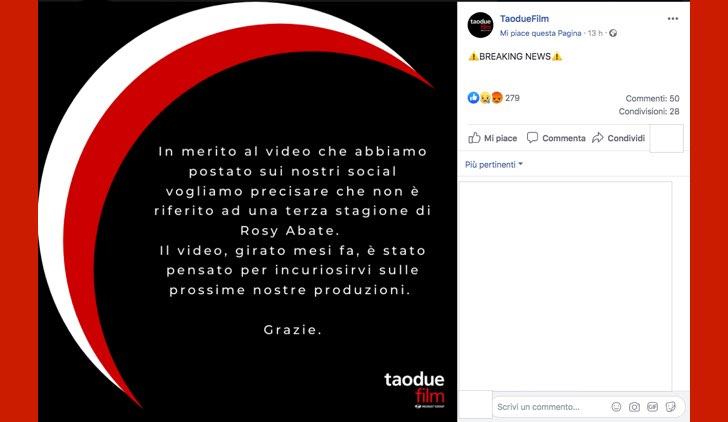 Rosy Abate 3 stagione smentita da Taodue sulla pagina Facebook ufficiale in data 11 novembre 2019